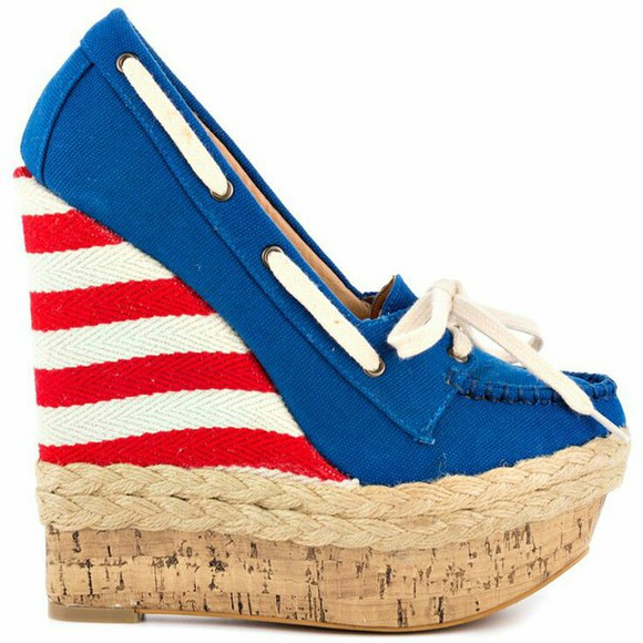 american flag espadrilles high heels wedges