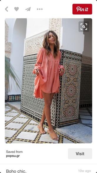 dress pink dress long sleeve dress summer dress