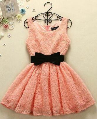 dress coral dress coral skater dress lace dress black bow
