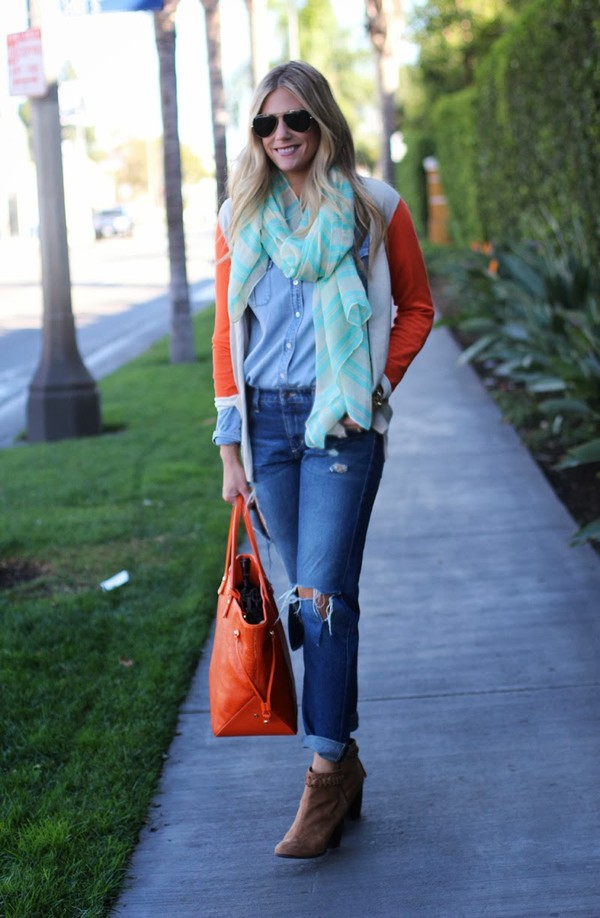 devon rachel scarf sweater shirt jeans shoes bag sunglasses