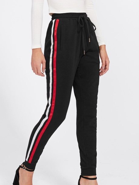 Pants Girly Black Track Pants Joggers Stripes Red