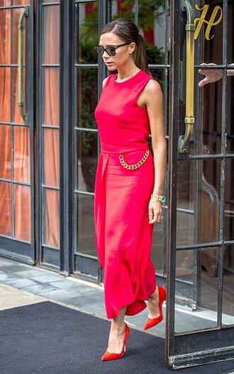 shoes sunglasses victoria beckham manolo blahnik pink dress red high heels