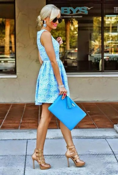 high heels blue and white dress handbag dress