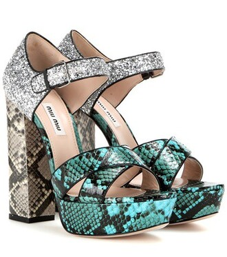 glitter sandals platform sandals green shoes