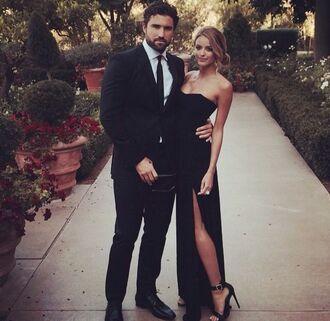 dress black dress black formal classy elegant leg slit strapless pretty sweetheart neckline