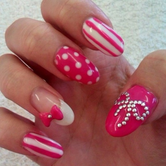 pink and white nail polish