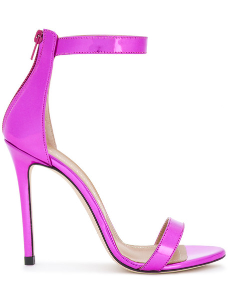 metal women sandals leather purple pink shoes