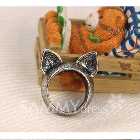 Retro style cat ear shape ring