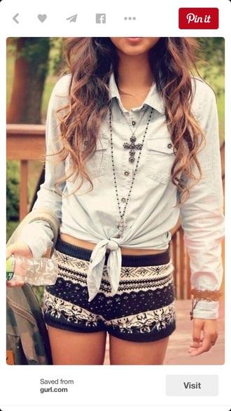 blouse shorts flannel