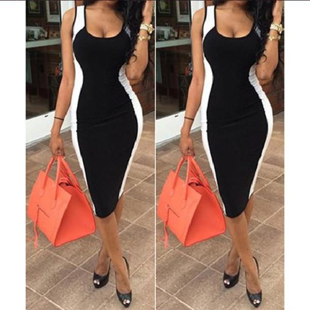 Dress: black and white, black and white dress, bodycon dress ...