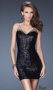dress,black,sequence,graduation,prom,short dress,little black dress,short prom dress,prom dress,cheap homecoming dress,la femme,black v-neck dress