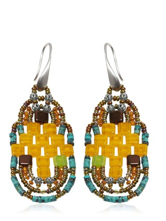 beaded earrings orange jewels
