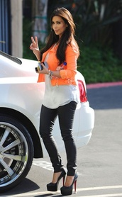jacket,neon orange,orange,neon,christopher kane,kim kardashian,bright,sexy,pretty,fashion,hot,leather leggings,white t-shirt
