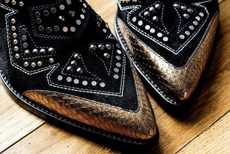shoes black studs studded gold leather crocodile silver ankle boots cowboy boots pattern