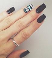 nail polish,pattern,shaped,nails,fashion,girl,grunge,cute,beautifl,wow,black,jewels,nail accessories