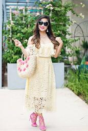 whatever is lovely – a houston life and style blog by lynne gabriel,blogger,dress,sunglasses,jewels,bag,shoes,yellow dress,lace dress