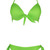 ROMWE | Neon Green Ruched Knot Top With Side Tie Bottom Bikini, The Latest Street Fashion