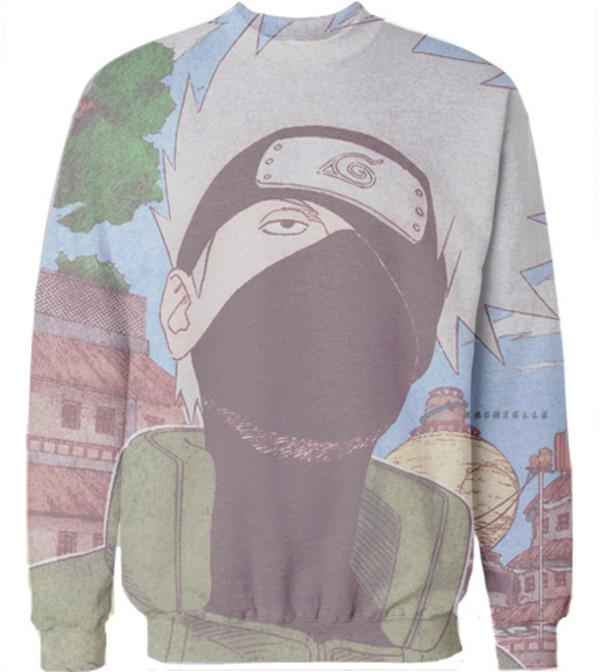sweater kakashi pullover naruto anime konoha anime merchandise tree houses konohagakure hottopic