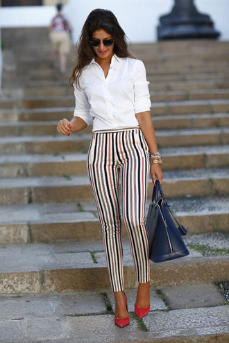 pants striped skinny high waisted