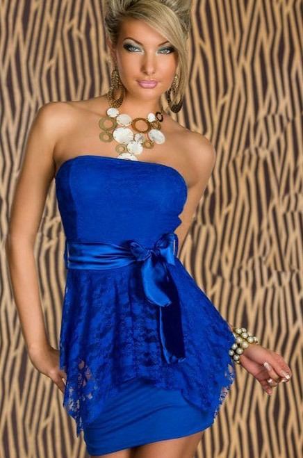 Free shipping New Arrival Sexy Womens Mini Wrap Dress Blue Clubwear Party Double-Layered Pleated Dress | Amazing Shoes UK