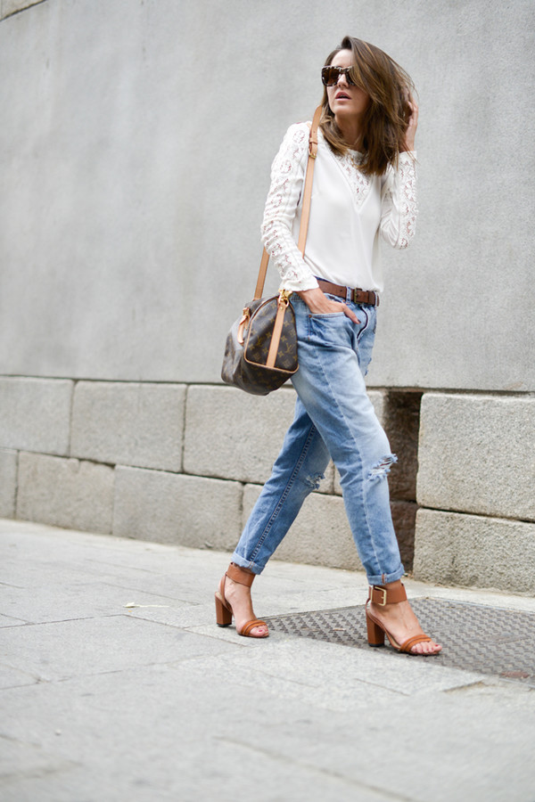 lovely pepa blogger top jeans bag sunglasses louis vuitton