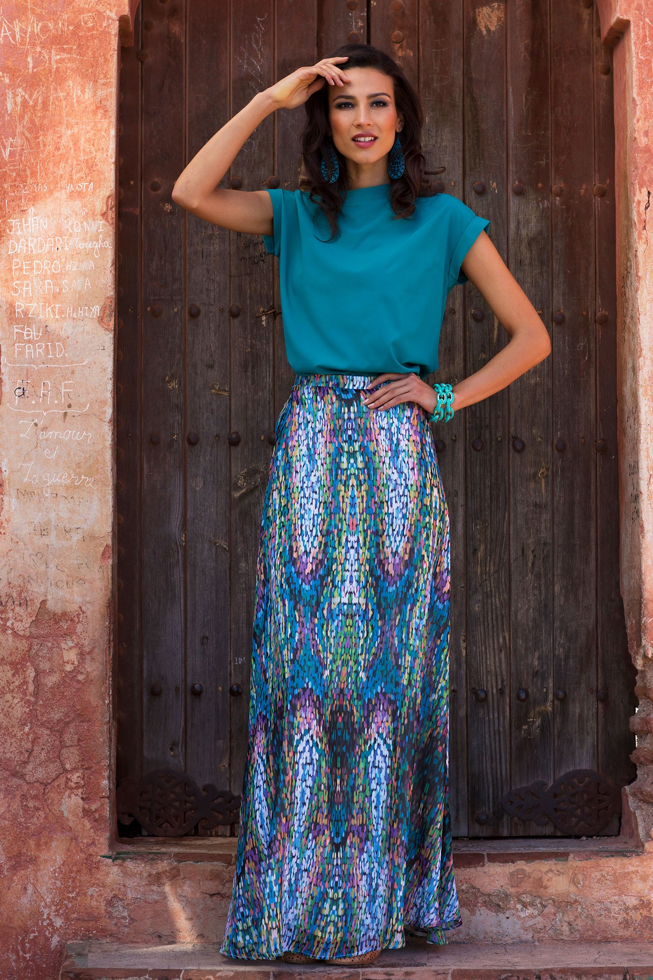 Colorful Mosaic Maxi Skirt from the Marrakech Collection by Shabby Apple