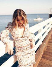 dress,ruffle,ruffle dress,floral,floral dress,plunge dress,lucy hale,mini dress,celebrity,spring dress