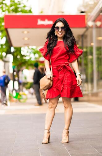 cute & little blogger dress shoes jewels bag sunglasses red dress sandals