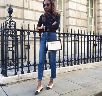 jeans frayed jeans blue jeans frayed denim bag white bag balenciaga bag balenciaga shoulder bag top black top turtleneck long sleeves ballet flats flats fall outfits