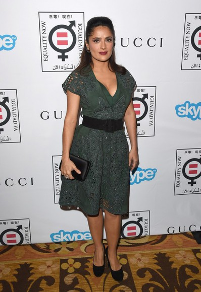 salma hayek dress shoes bag