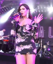 dress,flowers,floral dress,dua lipa,floral,little black dress,black dress,indie,coachella,coachella dress,coachella outfit