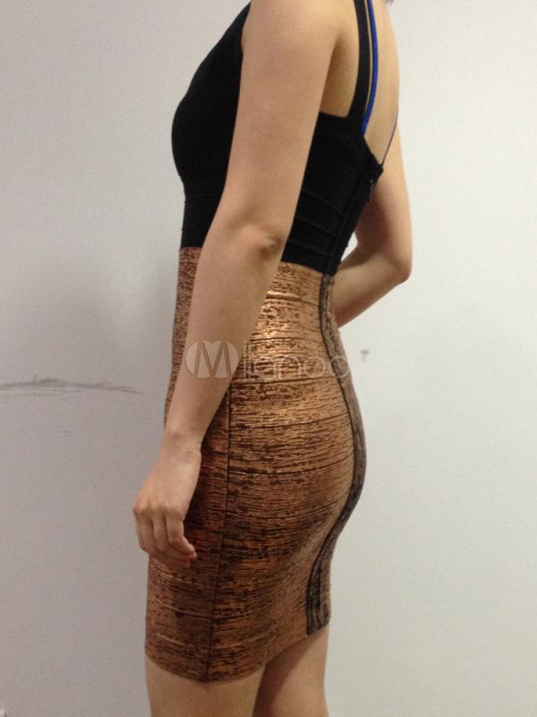 Bronze Sleeveless Metallic Rayon Slim Womens Bodycon Dress