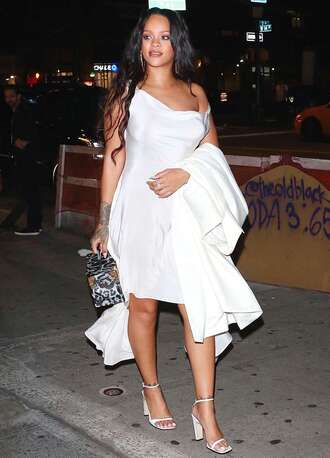 dress white white dress rihanna sandals sandal heels nyfw 2017 ny fashion week 2017 shoes