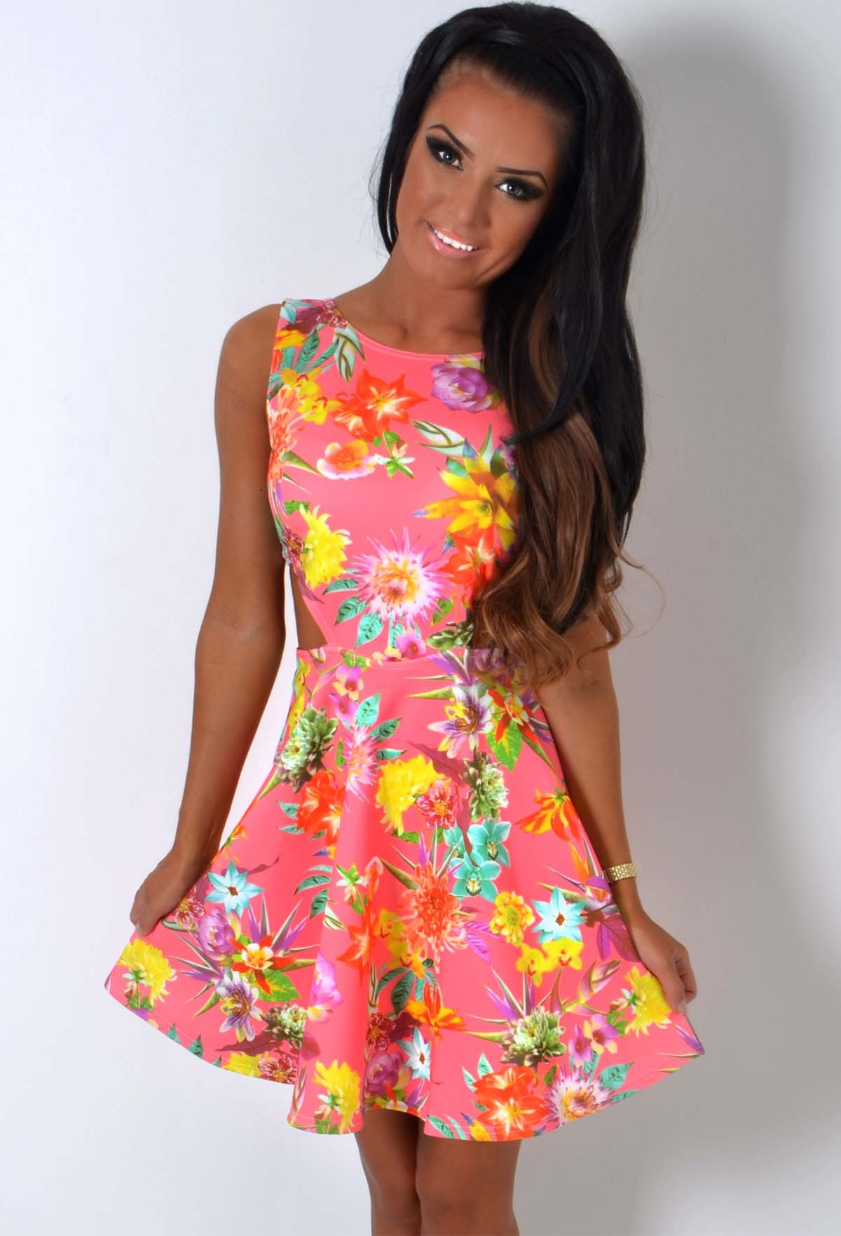 86ff4255 Sweet Nothing Pink Floral Print Skater Dress | Pink Boutique