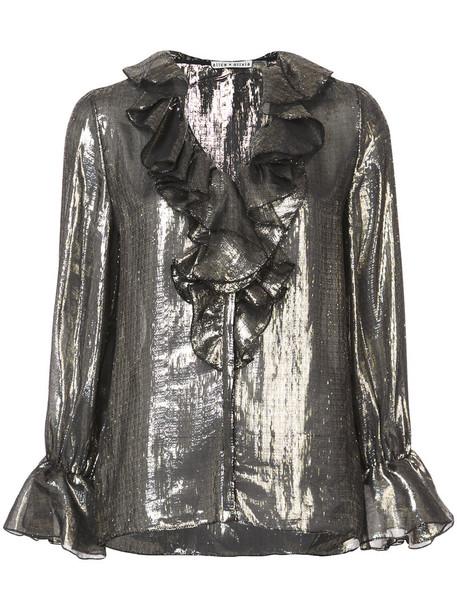 Alice+Olivia blouse ruffle women spandex silk grey metallic top
