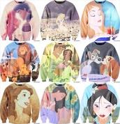 sweater,crewneck,crewneck sweater,disney,disneyland,princess,disney princess,sleeping beauty,alice in wonderland,lion king,princess and the frog,lady and the  tramp,lady and the tramp,princess belle,beauty and the beast,Pocahontas,Mulan,the little mermaid,printed sweater,animals