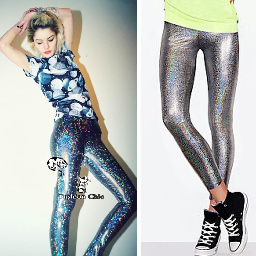 Celebstyle hologram holographic metallic pants leggings tights