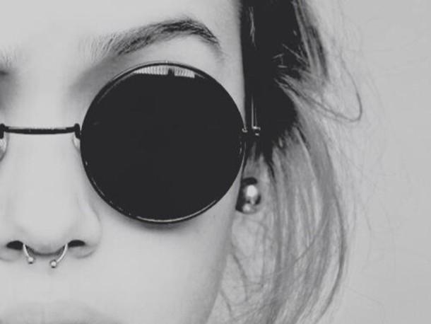 sunglasses shades black hipster goth hipster round sunglasses style fashion vintage lunette de soleil ronde noir petite circle round sunglasses black sunglasses sun