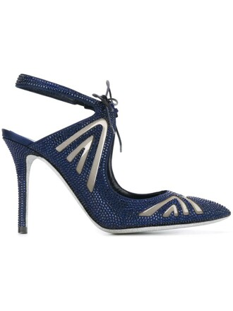 cut-out embellished pumps blue shoes