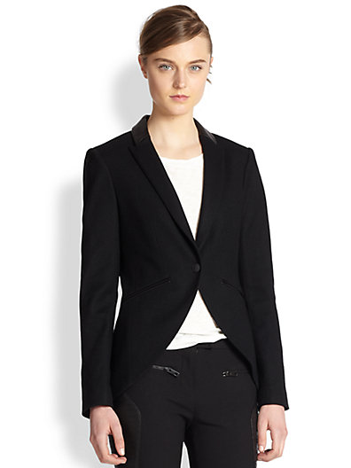 Rag & Bone - Hubert Leather-Trimmed Wool Blazer - Saks.com