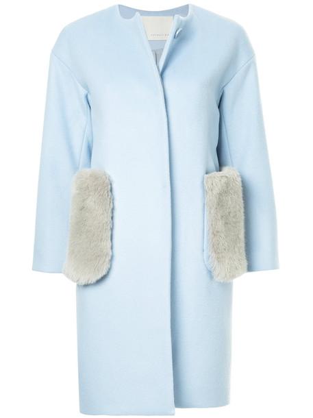 Estnation coat fur women cotton blue wool