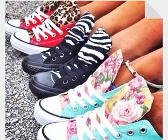shoes zebra print floral leopard print converse