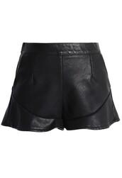 shorts,chicwish,faux leather shorts,peplum trim shorts,fashion and chic