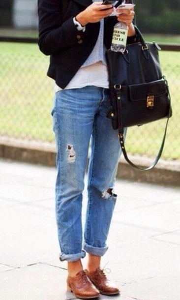 bag big black bag jeans shoes