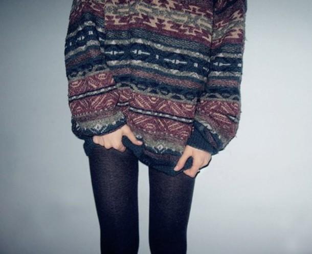 sweater jumper vintage cute warm cozy winter outfits oversized cardigan aztec stripes multicolor grandad sweatshirt oversized
