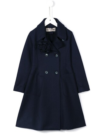 coat girl double breasted toddler blue