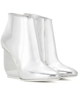 leather ankle boots metallic boots ankle boots leather silver shoes