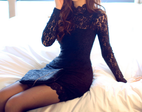 Fashion sexy black lace dress