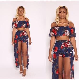 romper romper dress maxi romper 2 piece short set 2 piece skirt set floral skirt matching skirt and top