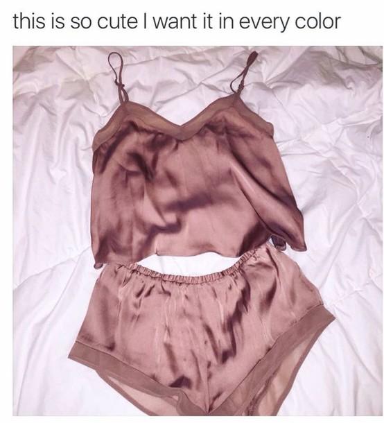 e77fd0a4e8 pajamas tank top satin bomber short shorts two-piece spaghetti strap  nightwear sleepwear rose gold